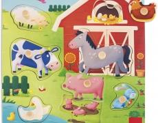 Knopfpuzzle Tiermütter und -Kinder, 7 teilig